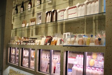 Hakkaisan's select shop features sake but also products that use rice and koji.