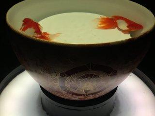 Two goldfish in a huge teacup -- elegance.