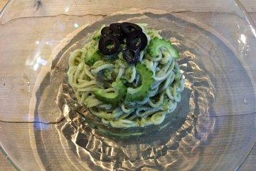 Pasta featuring bitter melon (goya)