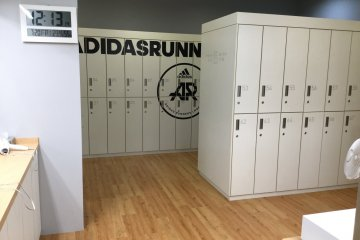 Full size and shoe size lockers to stash away your stuff.