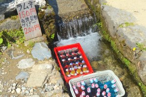 Japanese ramune chilled in a river