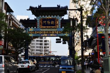 The gate marking the entrance to Chinatown is beautifully decorated