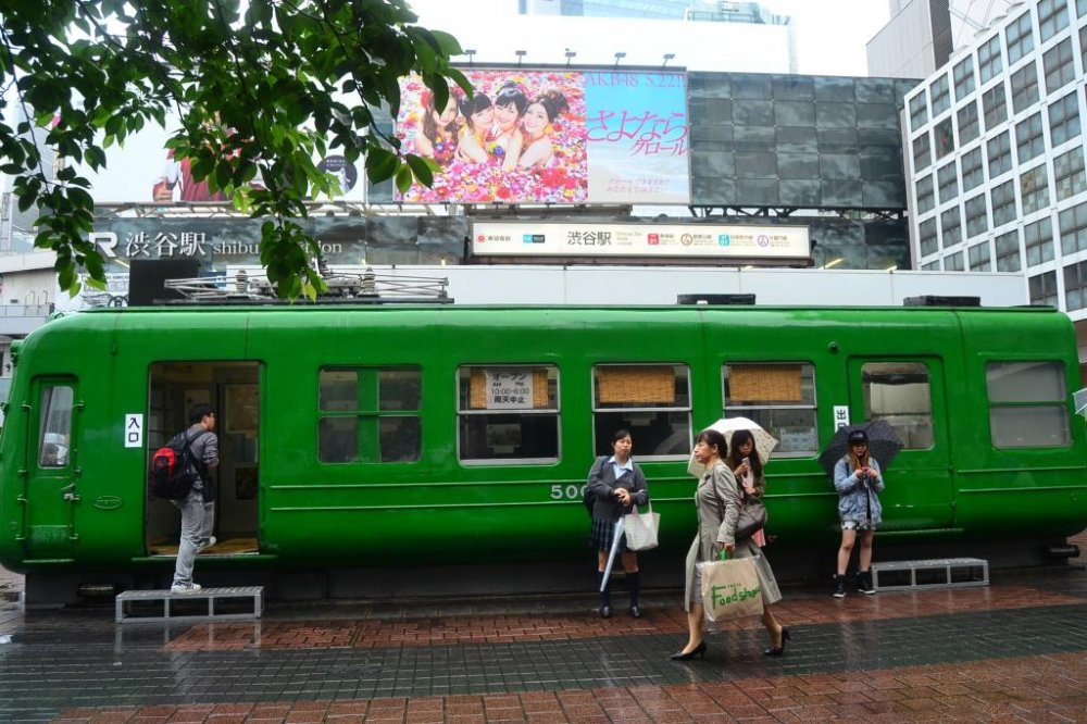 """This first Tokyo Kokyu train type 5000 was manufactured in 1954 and has been on public display since 2006. People refer to it locally as the """"green frog""""."""