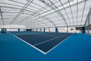 Full size indoor tennis courts, inspired by tennis champion Kimiko Date.