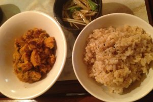 Gohan set with brown rice, miso soup, housemade pickles