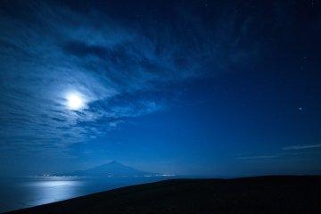 Rishiri Island in the full moon