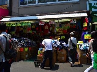 Cheap clothes bazaar.
