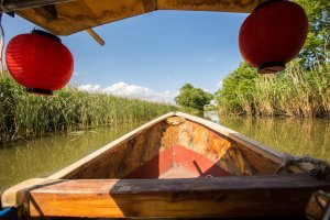 Cruising through Hachiman-bori on the antique boat