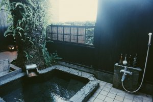 Personal outdoor hot spring bath at the ryokan