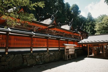 The stunning red colors of Niutsuhime shrine