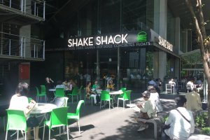 Shake Shack in the middle of the Tokyo International Forum buildings.