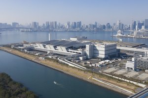 Aerial view of the new market at Toyosu