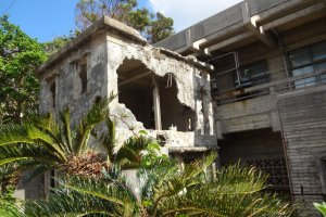 A pawnshop on Iejima ruined during the Battle of Okinawa