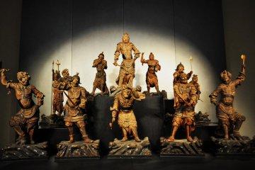 Standing Juni Shinsho (twelve heavenely generals). 12-13th Century Japanese sculpture.
