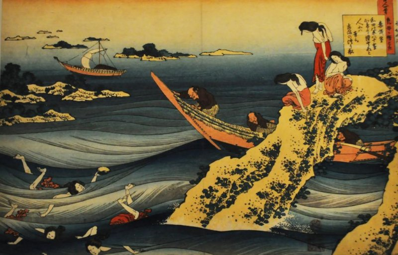 Japanese traditional painting. I love the way the water is painted.