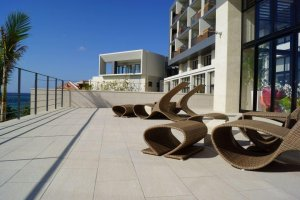 The design of the hotel is simple and clean continuously using the ocean as its main focal point.