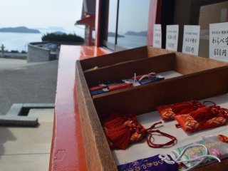Omamori are available for purchase at the shrine