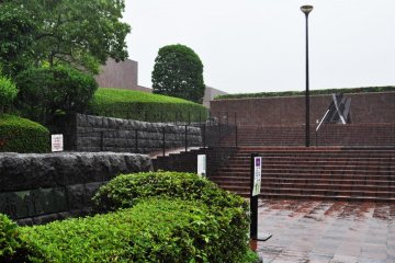 This is the entrance to the museum right next to Ohori Park.