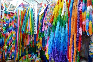 Thousands of paper cranes bring a wealth of color to Peace Park