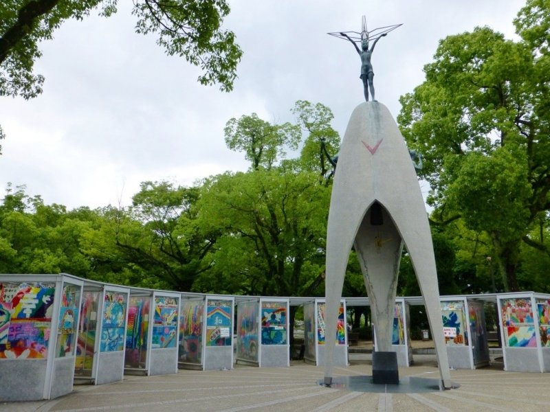 The Children's Peace Monument stands tall in Peace Park