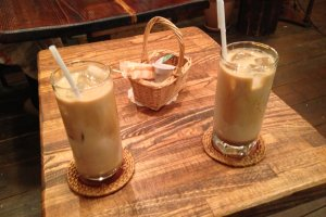 Classic iced latte at J-Lodge with optional soymilk. Yum!