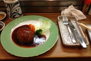 Chicken hamburger with demi-glace sauce