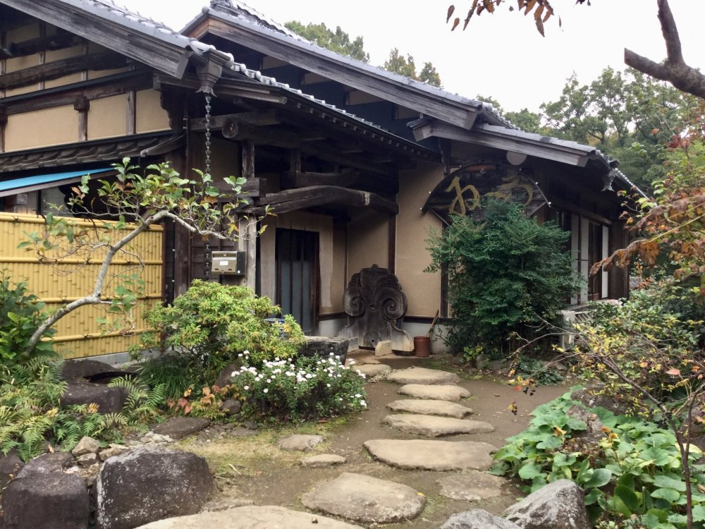 View from the outside. The restaurant feels like someone's country home at the foot of Mt. Tsukuba.