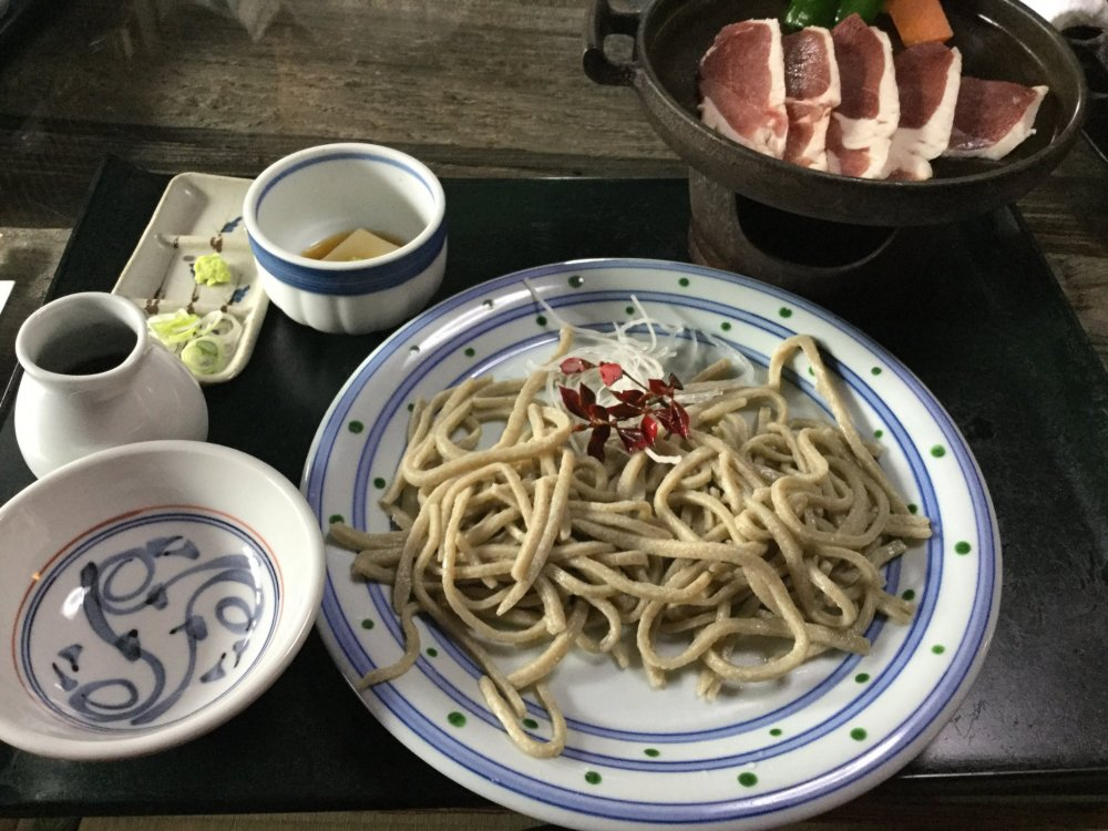 The best the house has to offer: cold soba with duck grilled at the table.