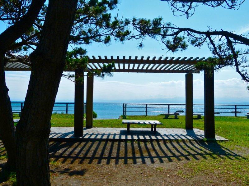 하야마 공원은 아름다운 소나무로 둘러싸인 쾌적한 해변 공원이다