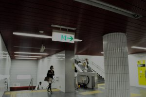Escalators from the tracks to the exit on the Namboku line