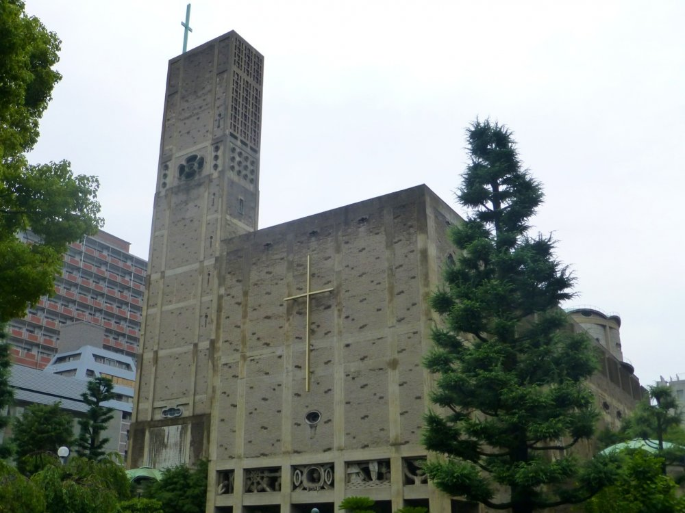 The cathedral standing tall, serving as another symbol for peace in Hiroshima City