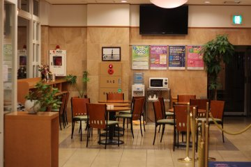 The large lobby is used as the breakfast nook in the mornings.