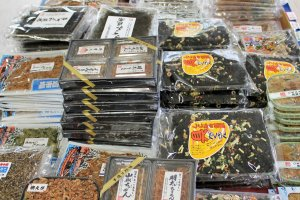 Lots of fish and seaweed products
