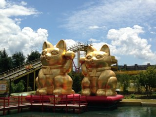Lucky cats welcome you to the park