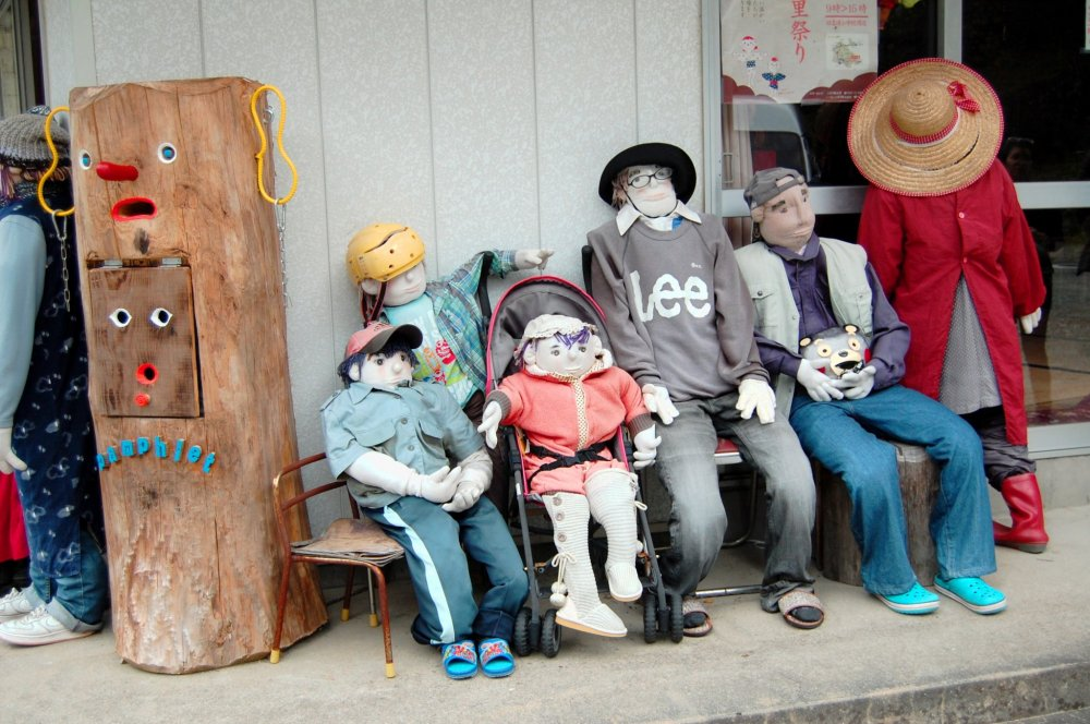 The village has many scarecrows