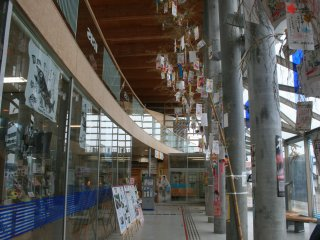 Tazawako Station with paper streamers reminescent of Tanabata