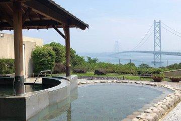 The luxurious outdoor bath at Biyu Matsuho no Sato.