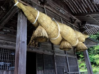 Shimenawa (enclosing rope) used in ritual purification in Shinto shrines.
