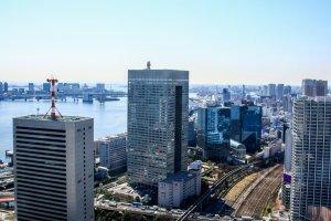 Looking south towards Odaiba, Tokyo Bay and the Rainbow Bridge