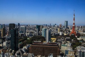 On a very clear day, Mt. Fuji shines in the distance. This is also a prime location to view the nearby Tokyo Tower.