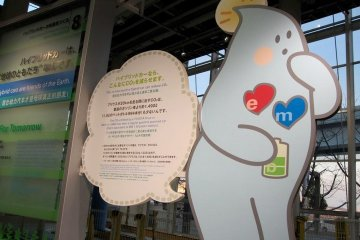 Informational signs teach visitors about hybrid cars.
