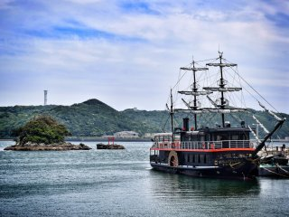An iconic black ship on display in Shimoda