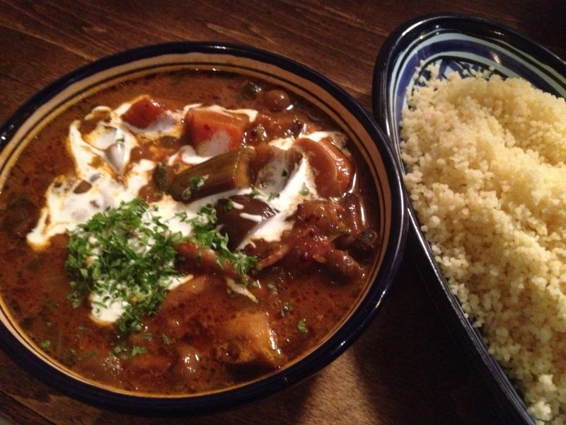 Spicy curry with eggplant and couscous