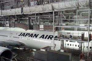 Maintenance work on a JAL plane