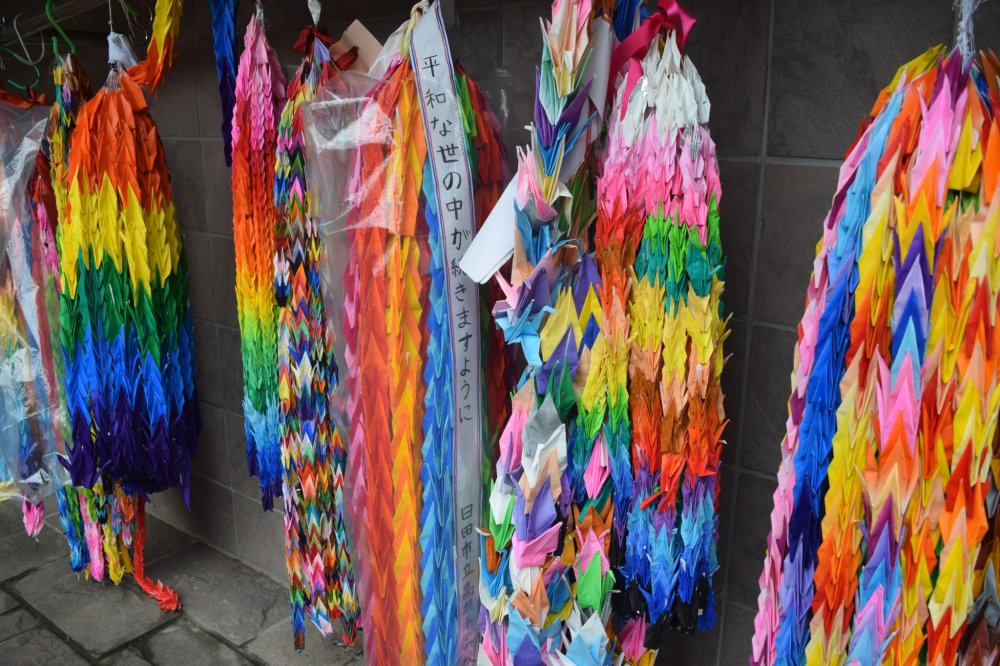 Colorful paper cranes at the Nagasaki Peace Park