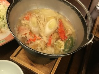 The crab soup dish cooking away