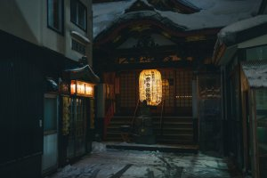 A small shrine in Aomori City with an illuminated lantern