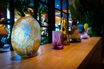 Some of the art work in the lounge was beautifully designed glass pieces by Tomoka Ohnishi.