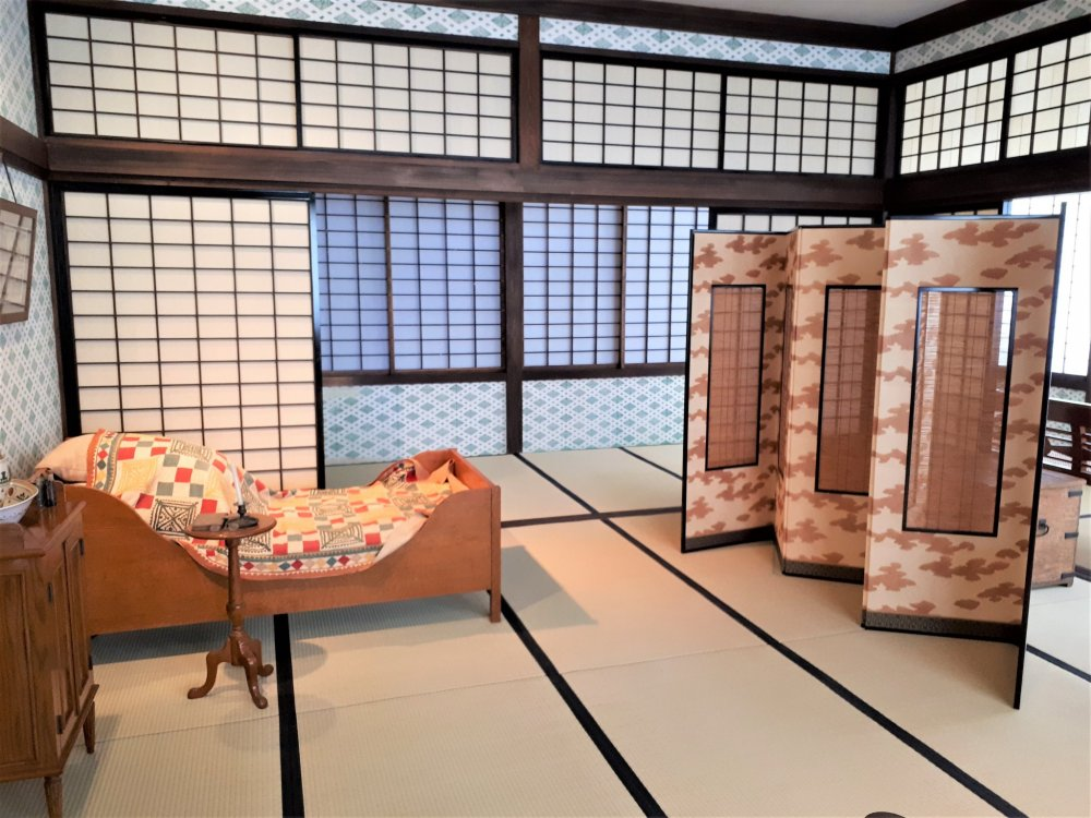 One of the many spacious Japanese-styled rooms laced with European touches.