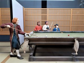 A display of billiards, introduced into Japan via the Dutch in 1794